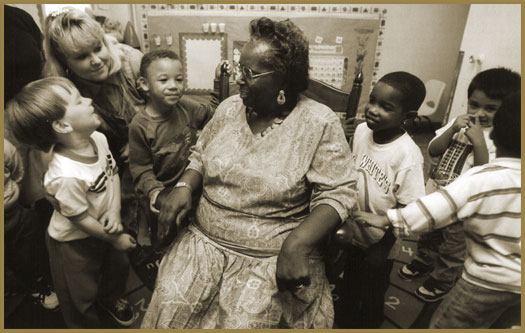 Evelyn K. Davis with the children